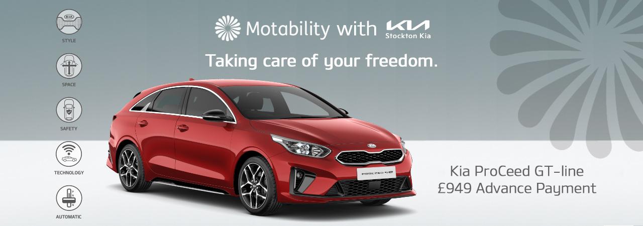 Kia proceed on motability with £949 advance payment at stockton kia