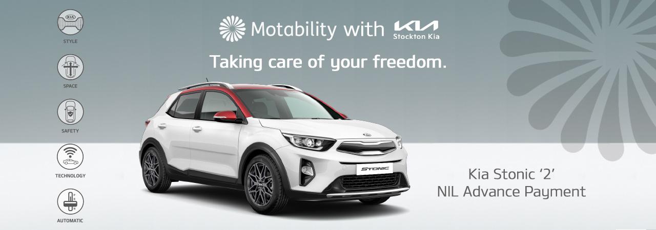 Kia Stonic on motability with nil advance payment at stockton kia